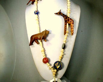 African SAFARI Necklace, Gorgeous Beads For Tribal, Large Wood Carved Giraffe, Lion, Leopard and Beads 1980s Big Game Hunting