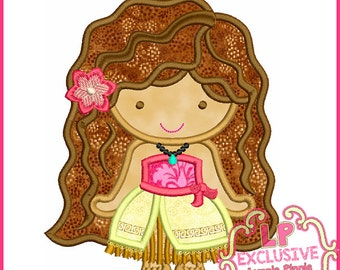Pretty Polynesian Princess Cutie Applique Design 4x4 5x7 6x10  SVG Machine Embroidery Design