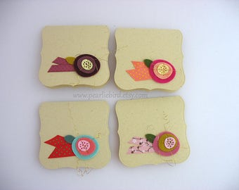 Felt Flower Mini Note Cards~set of 4~Unique Card~One of a Kind Card~thank you card~easter basket card~lunchbox note
