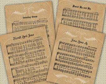 Classic Hymns / Hymnal / Printable Christian Song Sheets  - Instant Download, 4.2 x 3.36 Inch Tags, Download and Print Digital Sheet