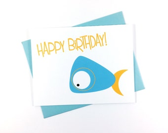 Birthday Card, Happy Birthday Card, Children's Greeting Card, Sea Creature Card, Whale Card - Single
