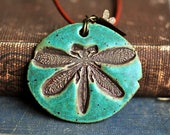 Ceramic Dragonfly Necklace in Antique Copper Patina Green glaze, medallion, funky fresh, fun, rustic, woodland chic