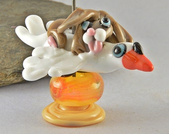 The Joy Riders, Swan and Hare sculpture  lampwork glass bead ,  whimisical lampwork focal bead, Izzybeads SRA