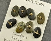 Seven plus one  little Maine sea stone toggle buttons ecochic  ocean style for knitters and jewelry craft