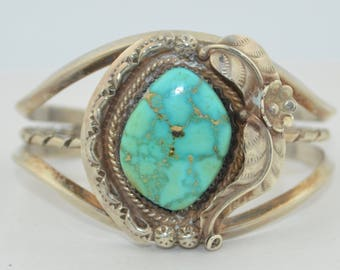 Vintage Sterling Silver & Turquoise Cuff Bracelet