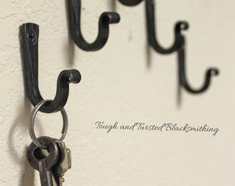 Small iron hooks, key hooks, black metal hooks, steel hooks, blacksmith made