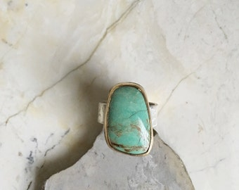 Neveda Green Turquoise Ring. Size 7.5 Statement Ring. Bohemian Ring. Modern Boho. Mixed Metal Ring. Sterling Silver. Wide band.