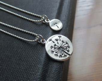 mother daughter jewelry, dandelion necklace with ball chain, sterling silver, mom gift, mother daughter necklace, birthday gift
