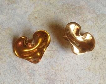 Goldtone Heart Earrings by Christian Dior