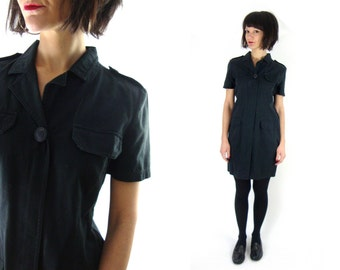 90s shirt dress military / short sleeve / small