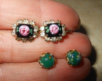 Vintage glass rose rhinestone earrings gf screw back small artglass green post earrings elegant