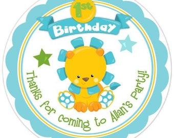 Custom First Birthday Labels, Baby Lion 1st Birthday Stickers, Birthday Decoration, Personalized Children Stickers