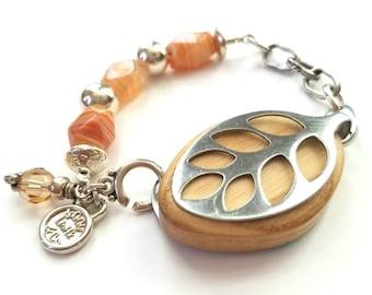 Bella Beat Bracelet doOGle LinHk Designer Series Banded Carnelian with .925 sterling silver
