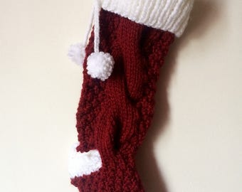 Two-Toned Cable-Knit Christmas Stocking