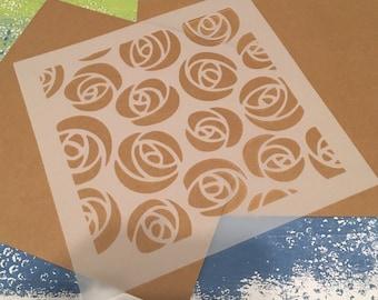 Square 8.5 inch stencil - Roses