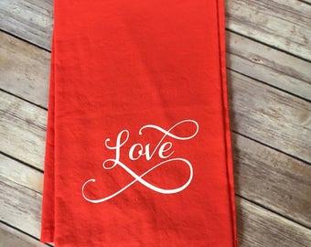 Love dish towel, flour sack dish towel