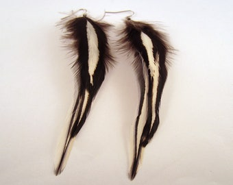 Natural Feather Earrings Silver laced hen
