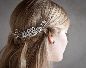 Silver Leaf Comb, Wedding silver rhinestone brooch hair vine, Silver wire hair comb with crystals, silver wedding hairpiece leaf crown