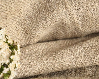 P 481:  handloomed antique linen plain, BROWN 3.82 yards 리넨 french lin curtain panel;  wedding, tablecloth, upholstery, roman blinds