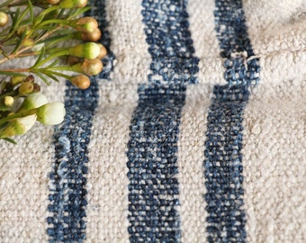 B 809: antique handloomed DEEP SEE BLUE 리넨 grain sack for pillows cushions runners upholstering projects, decoration, 51.18inches long