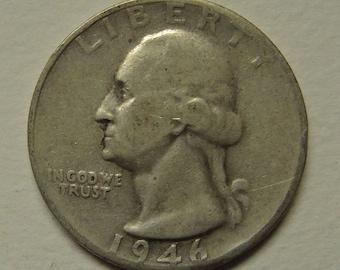 Vintage 1946 S Washington Quarter - Silver Quarter - USA Coin - Free Shipping