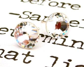 9mm clear crystal Swarovski stud earrings, clear crystal posts, clear crystal bridal studs, sparkly wedding earrings