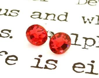 Swarovski Indian Pink crystal post earrings, 7mm pink stud earrings, pink rhinestone studs, birthday gift for her