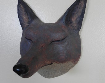 woodland red fox face sculpture, mask, wall hanging, rugged stoneware