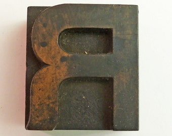 "1 5/8"" Tall Letter R Vintage Letterpress Printer's Block beautiful antique ALL WOOD block monogram wedding"