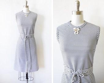 striped mod dress, vintage 60s blue and white striped dress, sleeveless scooter dress, 1960s dress, medium m