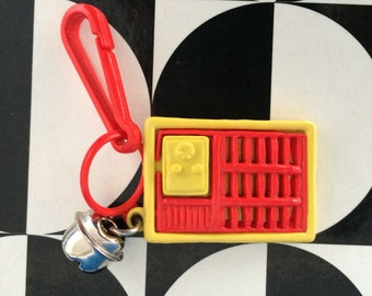 Vintage 80's Plastic Bell Clip Old Time Radio Charm Toy Necklace Jewelry Pendant