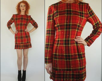 Vintage 80s Plaid Studded Ruffle Preppy Boho Red gold Tartan Mini dress XS S