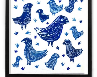 Chicken painting, Blue chicken painting, folk art, blue painting, wall art, original painting, chcken art, children's art, nursery decor