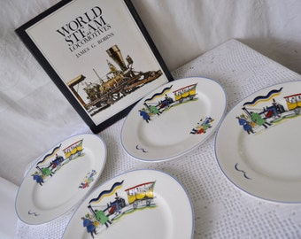 A Merry Steampunk Christmas/Victorian Steam Engine Train Plates/Vintage 1960s 1970s/Four English China Holiday Dessert Plates