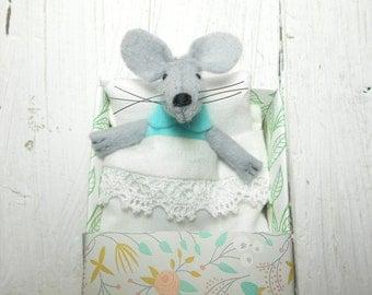 Felt animals in matchbox miniature animals stuff mice stockings stuffers hand made doll girl gift newborn gift Travel buddies