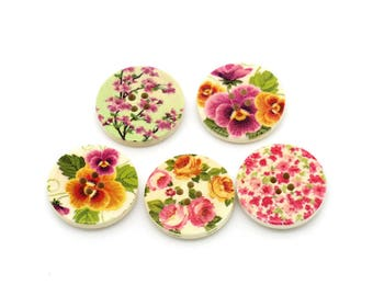 Spring Flowers wood sewing buttons - 5 Mixed Patterns craft buttons (BB1005C)