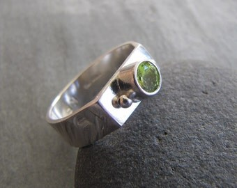 Peridot and Silver Wide Ring