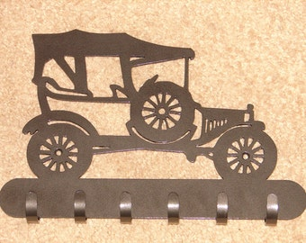 Vintage Auto Model T KEY RACK Hat Coat Hook Leash Hanging Hook Hot Rod Rat Automobile