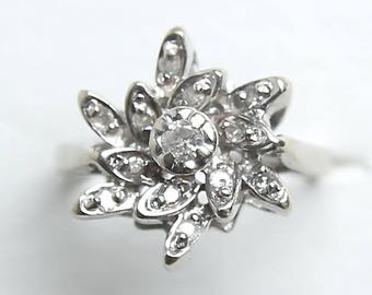 Vintage Diamond 14k white gold Mid Century Starburst Flower Cluster Ring Wedding 1/3CT