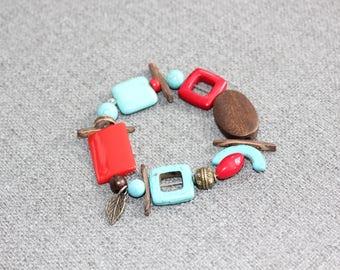 bijoux fantaisie, bracelet, bracelet élastique, rouge, turquoise, bronze, bois, bracelet rouge, bracelet turquoise, nanturel, bohème, quebec