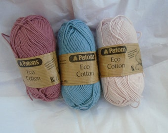 3x 50 g creative pack eco cotton knit crochet yarn by Patons UK pink blue carefully stored