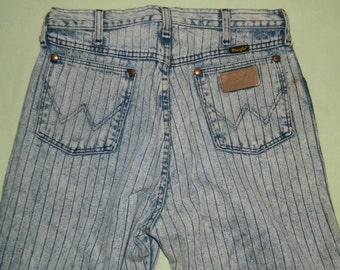 W 32 L 35 Vintage 70s 80s Wrangler Rail Road Stripe Women's High Waist Jeans Stone Washed Skinny Jeans Tall Girl Jeans Scovill Zipper
