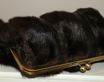 10inch Leather and Ranch Mink Clutch/Purse/Bag Newly Handmade Repurposed Fur/Long Island Bride Bridal/Wedding Gift/Evening/Brown/Silk Lined