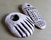 Artisan made ceramic pendants - set of 2 - African inspired amulets.