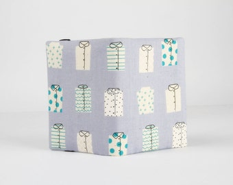 Fabric card holder - Shirts in light blue / Cotton and Steel / Japanese fabric / Rashida Coleman Hale / Kujira and stars / grey white teal
