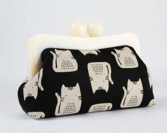 Resin frame clutch bag - Cats on black - Awesome purse / Off white frame / Maker Maker by Sarah Golden / Black and white / Hot pink