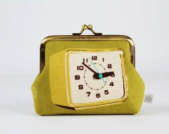 Metal frame change purse - Clocks in green - deep dad / Melody Miller / Japanese fabric / Mustard Turquoise Black / Retro