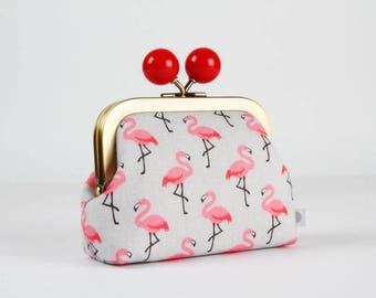 Metal frame coin purse with color bobble - Lovely flamingos on gray - Color dad / Pink peach red light gray / Kawaii fabric