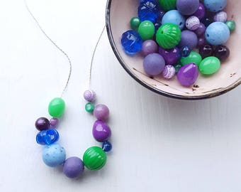 bedhead mermaid necklace - vintage lucite - jeweltones - chunky necklace - purple green blue
