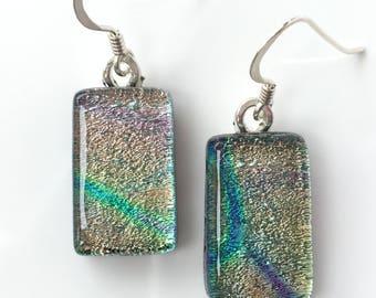 Ladies Earrings -  Pink Green Fused Dichroic Glass Earrings - Handmade Dangle Earrings - Pink Earrings - Drop Earrings - EE 597